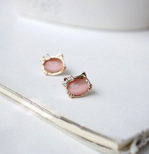 Hello-Kitty-Jewelry-With-Crystal-Bowknot-Opal-Cute-Cat-Stud-Earrings-female-Cat-Jewelry-E111 (1)