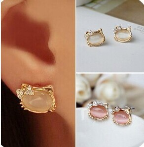 Hello-Kitty-Jewelry-With-Crystal-Bowknot-Opal-Cute-Cat-Stud-Earrings-female-Cat-Jewelry-E111