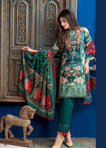 37b6804d80 Gul Ahmed Embroidered Linen Unstitched 3 Piece Suit GL17W VL67 ...